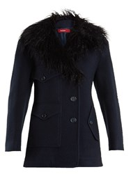 Sies Marjan Ivy Wool Blend Felt Pea Coat Navy