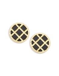 House Of Harlow Phoebe Caged Leather Button Clip On Earrings Black