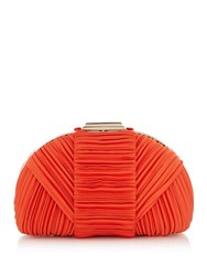 Issa Cara Dome Pleated Clutch Coral