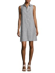 Saks Fifth Avenue Sleeveless Linen Shirt Dress Blue Cross