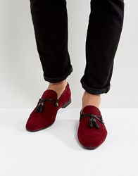 Asos Loafers In Burgundy Faux Suede With Tassle Detail Burgundy Red