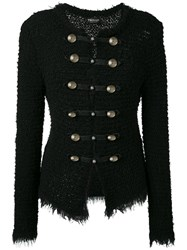 Twin Set Boucle Military Jacket Women Cotton Polyamide Polyester Viscose M Black
