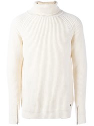 Bark Ribbed Long Sleeve Sweater White