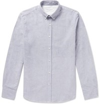 Officine Generale Button Down Collar Brushed Cotton Oxford Shirt Gray