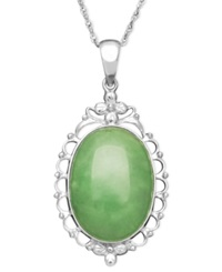 Macy's Sterling Silver Necklace Jade Antique Oval Frame Pendant 13 18Mm