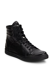 Kenneth Cole Double Up High Top Leather Sneakers Black
