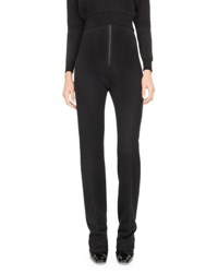 Atlein High Waist Zip Front Slim Trousers Black