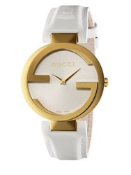 Gucci Interlocking Latin Grammy Goldtone Pvd Stainless Steel And Rubber Strap Watch Gold White