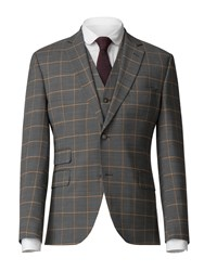 Gibson Charcoal Jacket With Apricot Check Blue
