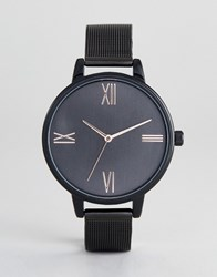 Asos Design Tonal Black Mesh Watch