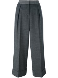 I'm Isola Marras Plaid Wide Leg Cropped Trousers Black