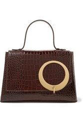 Trademark Harriet Croc Effect Leather Tote Chocolate