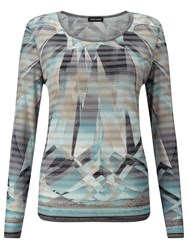 Gerry Weber Printed Stripe Top Blue Grey