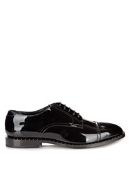 Jimmy Choo Penn Patent Leather Studded Derby Shoes Black