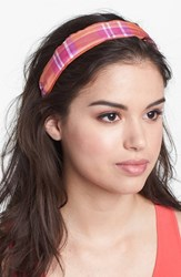 L. Erickson Two Tone Scarf Headband Pink Hammock Plaid