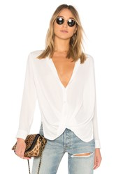 Krisa Surplice Button Blouse White