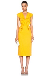 Cushnie Et Ochs Stretch Linen Ruffle Dress In Yellow