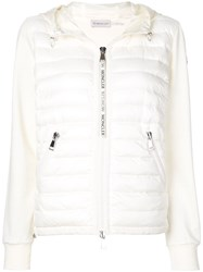 Moncler Padded Front Zipped Hoodie White
