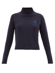 The Elder Statesman Highland Cropped Cashmere Sweater Blue