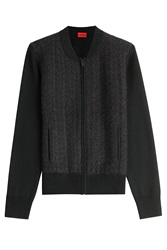 Hugo Zipped Wool Cardigan Black