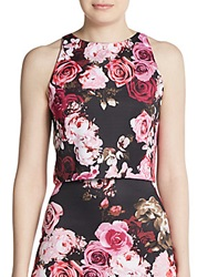 Saks Fifth Avenue Red Floral Print Scuba Crop Top Pink Floral