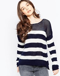 Wal G Striped Jumper Navy