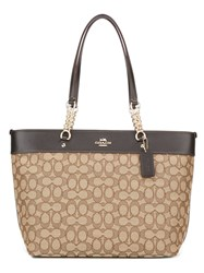 Coach Chain Strap Tote Nude And Neutrals