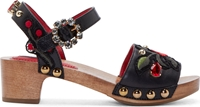 Dolce And Gabbana Black Leather Wooden Sole Clogs
