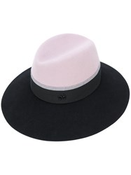 Maison Michel Stripe Band Fedora Women Wool Felt M Black