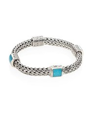 John Hardy Classic Chain Medium Turquoise And Sterling Silver Four Station Bracelet