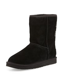 Crystal Bow Embellished Classic Short Boot Black Ugg Australia