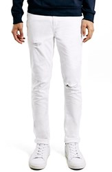 Men's Topman Ripped Stretch Skinny Fit Jeans White