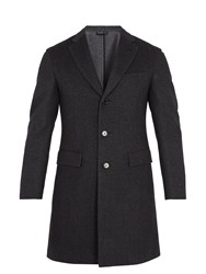 Brioni Single Breasted Wool Blend Overcoat Grey