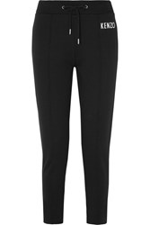 Kenzo Embroidered Cotton Jersey Track Pants Black