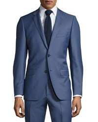 Dkny Slim Fit Solid Wool Two Piece Suit Blue