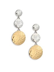 John Hardy Dot Hammered 18K Yellow Gold And Sterling Silver Triple Drop Linear Earrings Silver Gold