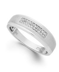 Macy's Men's Diamond Two Row Band In 10K White Gold 1 10 Ct. T.W.