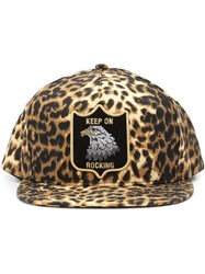 Saint Laurent Leopard Print Cap Yellow And Orange