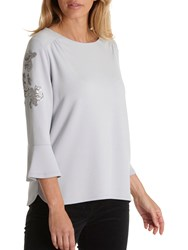 Betty Barclay Embellished Sleeve Top Pale Mauve