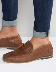 Asos Tassel Loafers In Tan Leather With Fringe And Natural Sole Tan