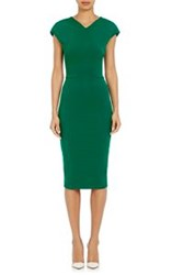 Victoria Beckham Compact Knit Cap Sleeve Sheath Dress Green