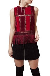 Women's Topshop Fringe Sleeveless Faux Suede Top Red Multi