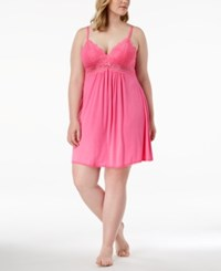 Thalia Sodi Plus Size Lace Trim Knit Chemise Created For Macy's Chic Pink