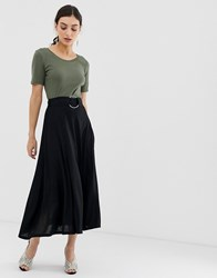 United Colors Of Benetton Jersey Maxiskirt With Ring Belt Black