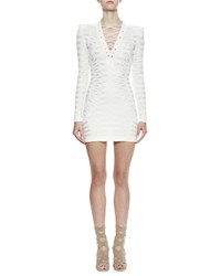 Balmain Long Sleeve Lace Up Sheath Dress White
