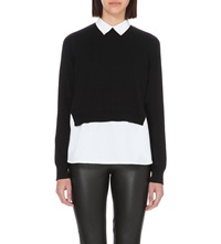French Connection Fresh Knits Shirt Jumper Black White