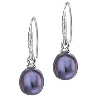 Dower And Hall Sterling Silver Oval Freshwater Pearl Drop Earrings Blue
