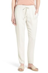 Women's Eileen Fisher Silk Crepe Drawstring Waist Ankle Pants