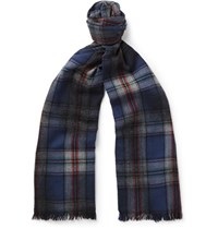 Lanvin Checked Wool Scarf Blue