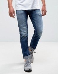 Replay Grover Straight Jean Dark Wash Rips Blue